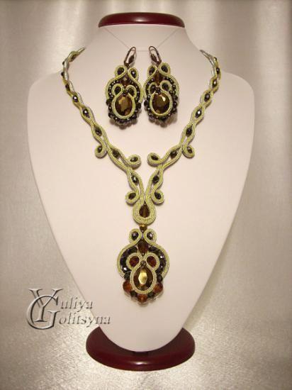 Soutache by Yuliya Golitsyna:collane e orecchini parure di soutache cordoncino soutache,ceca crystal,perline ceche ricamo treccia