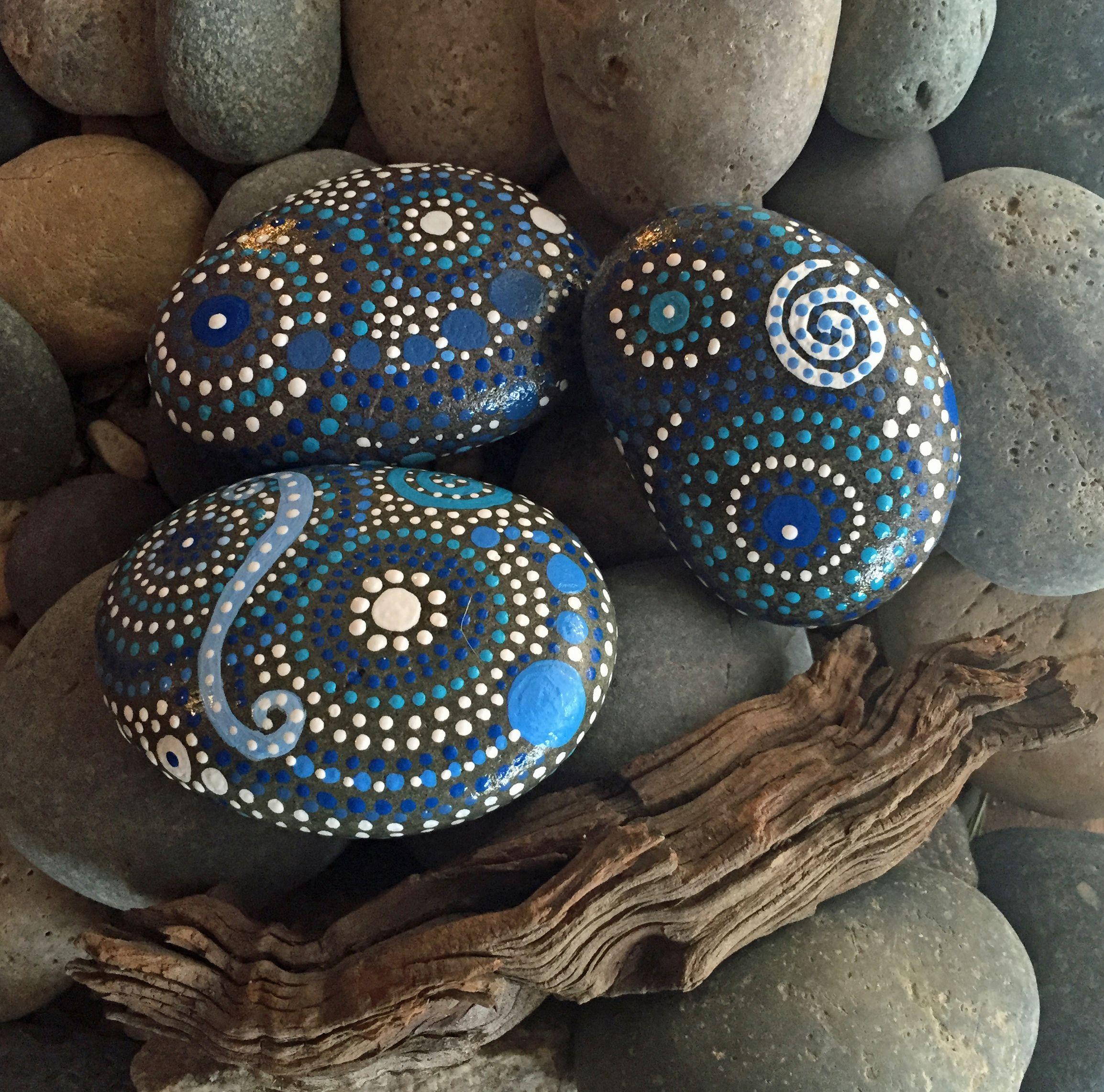 Hand Painted River Rocks  Mandala Inspired Design  Natural