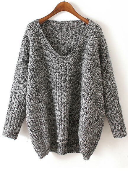V Neck Chunky Knit Dark Grey Dolman Sweater | Loose sweater, Cable ...