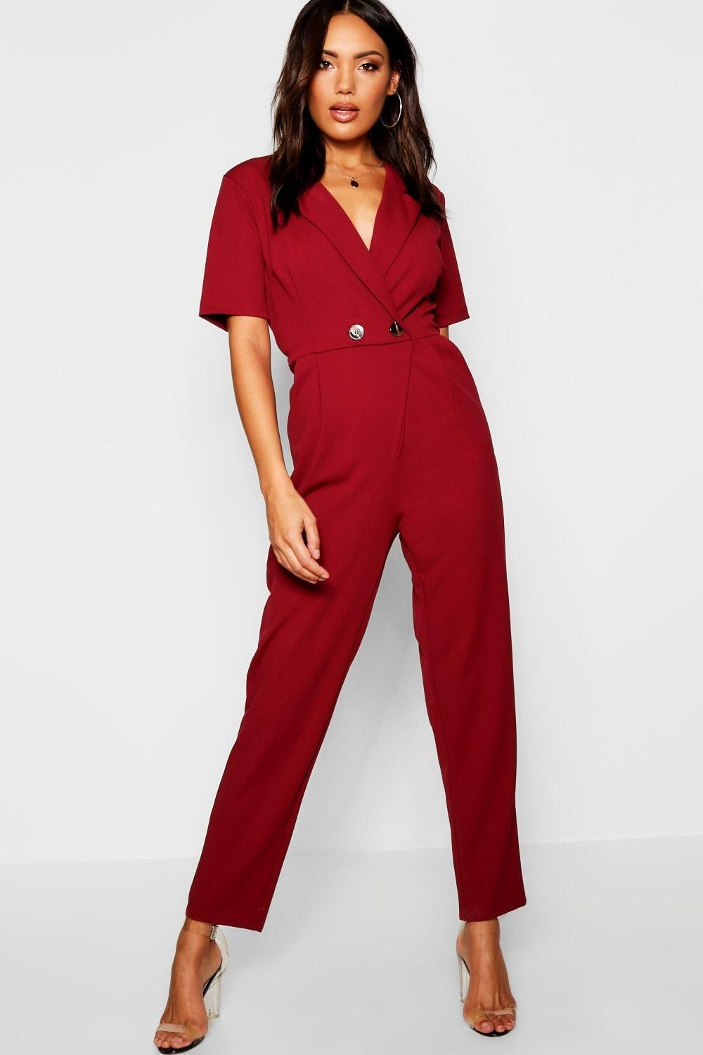 85ee3354d6c Click here to find out about the Horn Button Blazer Jumpsuit from Boohoo