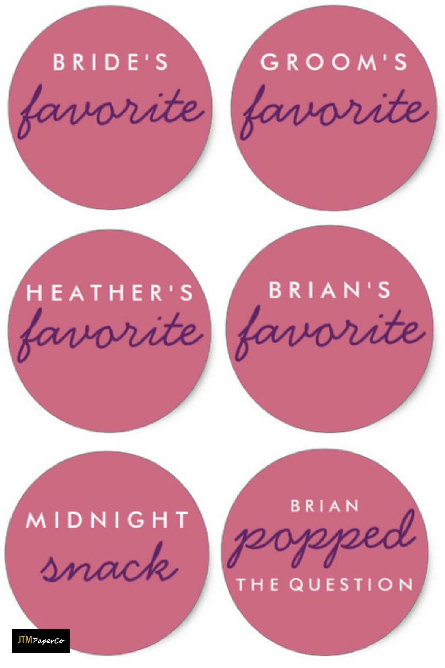 Wedding Favor Stickers perfect for favors or welcome bags - Pink ...