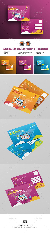 Social Media Marketing Postcard Template Postcard Template Print