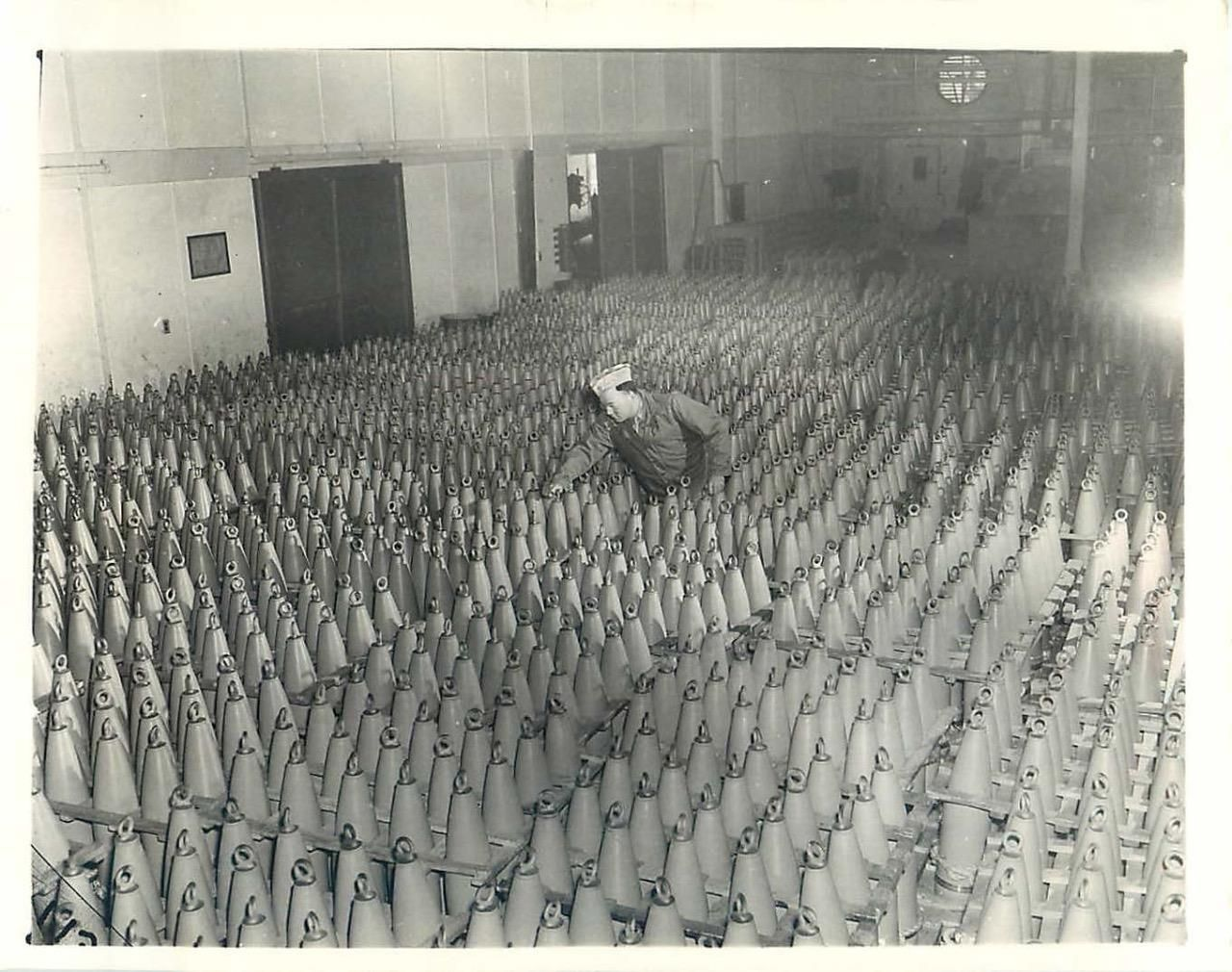 1943- Thousands of shells filled with poison gas at an eastern arsenal ready for shipment in the event Axis forces resort to chemical warfare.