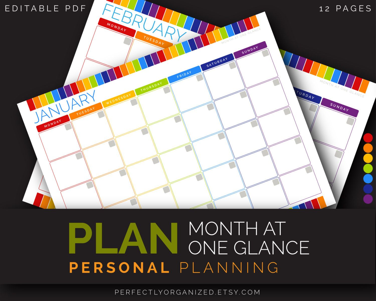 month at one glance planner to do list monthly schedule calendar rainbow printable planner