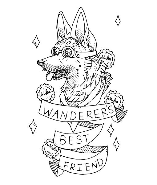 Fallout 4 Dogmeat Coloring Pages Fallout Tattoo