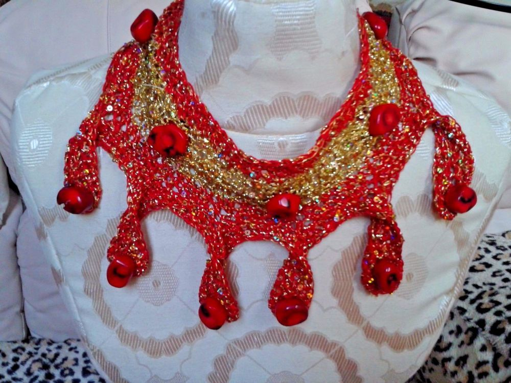 BIG FANCY NECKLACE .  GEM  STONE ..RED CORAL;; 17 INCH HAND CROCHET GOLD @ RED #HANDMADEBYGALINA #VINTAGE