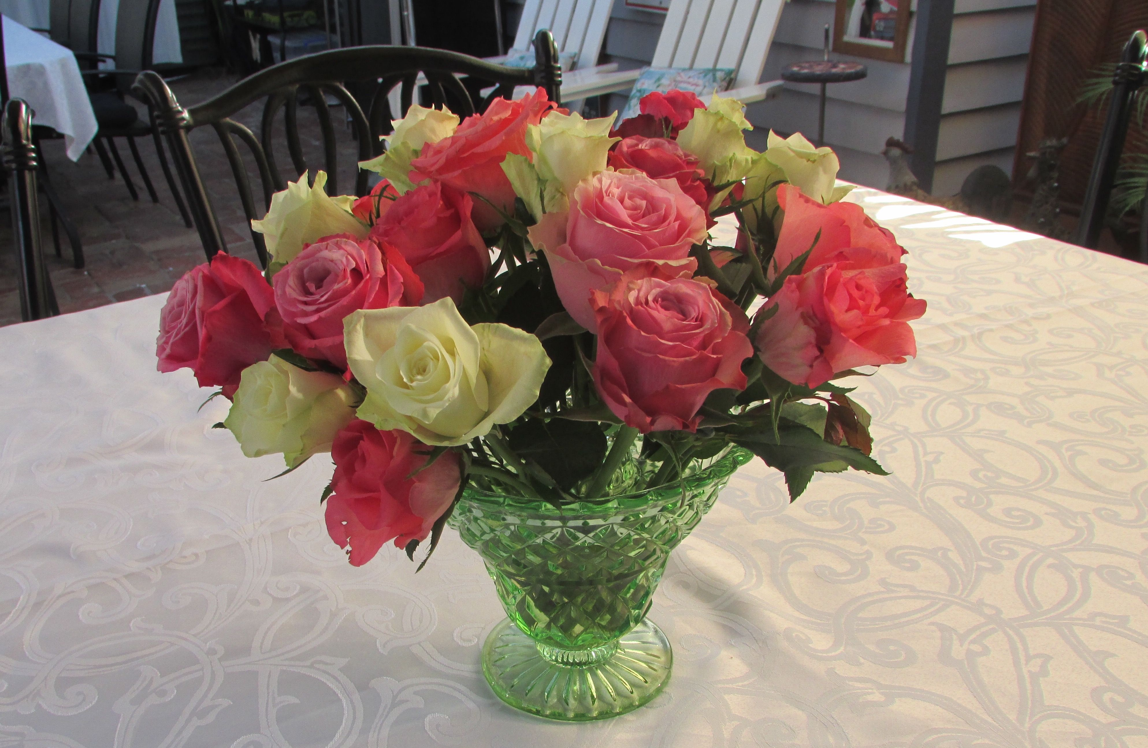 Celebrating A 90th Birthday I Used A Green Depression Glass That Was