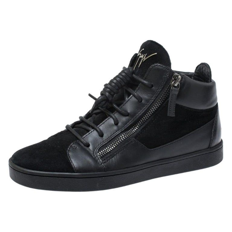 Giuseppe Zanotti Black Suede And Leather High Top Sneakers Size 37