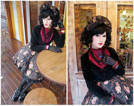 Vamp B. - Selfmade Half Bonnet, Selfmade Velvet Bolero, Selfmade Skirt, Bodyline Underskirt, Bodyline Ribbon Shoes, Selfmade Black Roses Cor...