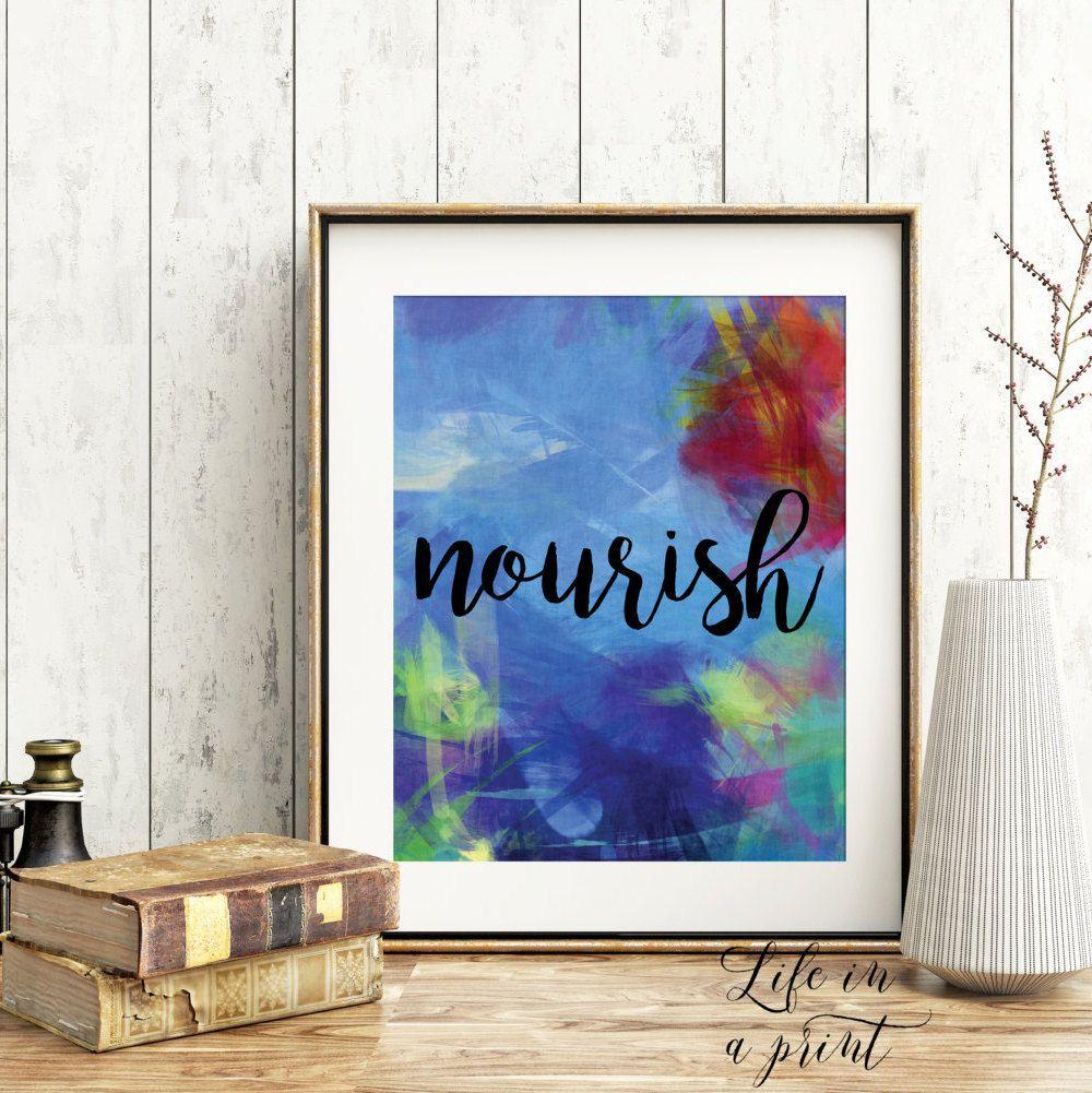 Printable Kitchen decor, kitchen art print, food, eat, nourish, home ...