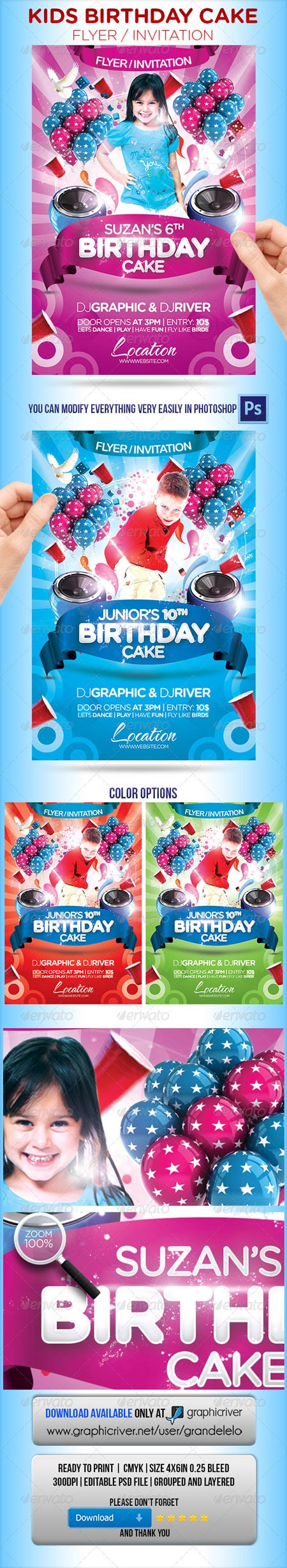 GraphicRiver Kids Birthday Cake Flyer Invitation Ads Pinterest