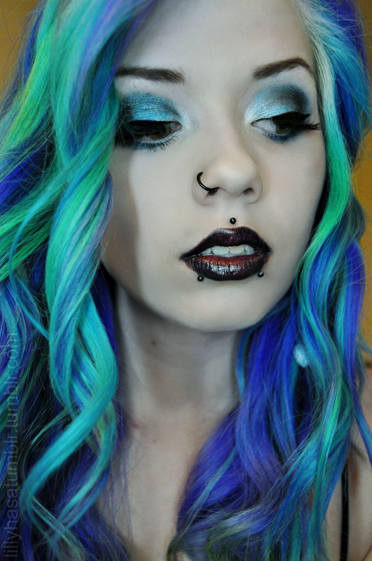 Bluehairgreenhairturquoisehair hair pinterest her hair