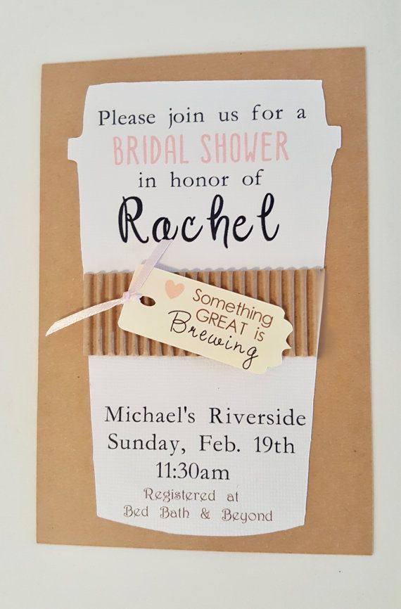 de5acc7729ba Handmade Coffee Invitations. Bridal Shower Coffee Invitation with ...