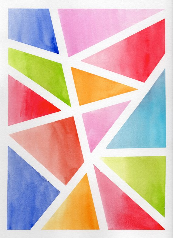 Set Of 3 Abstract Original Watercolor Paintings 9x12 Geometry Art