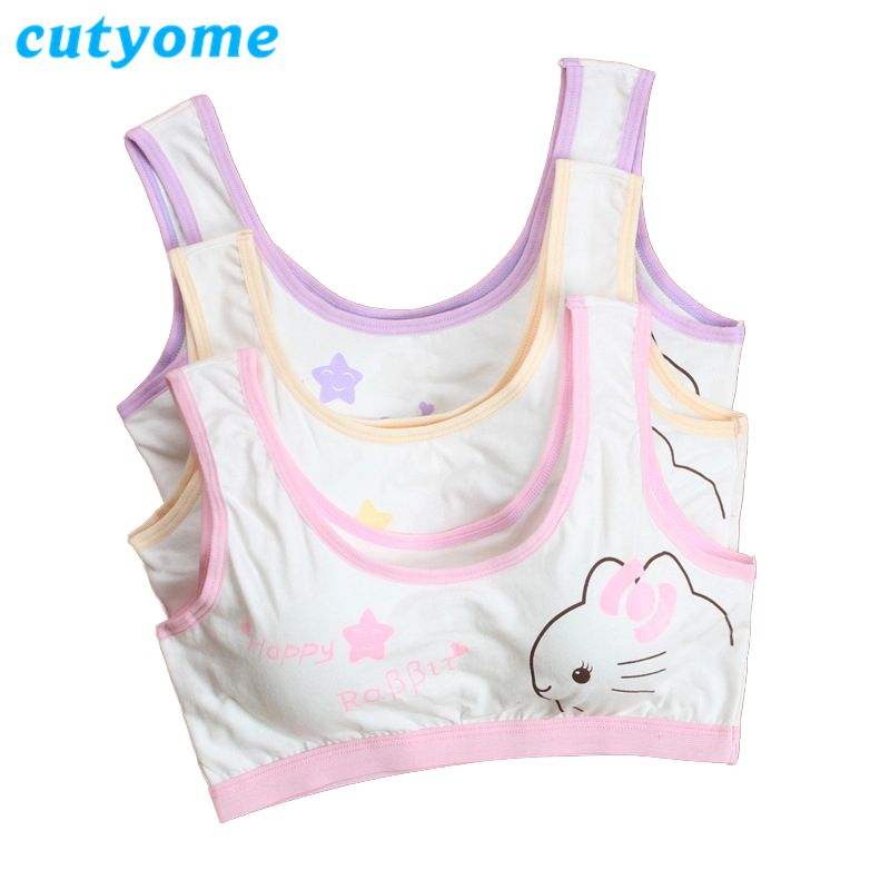 ecd331b61a 1pc Cutyome Teen Bras For Children Cotton Wireless Padded Students Training  Underwear Young Puberty Girls Bra