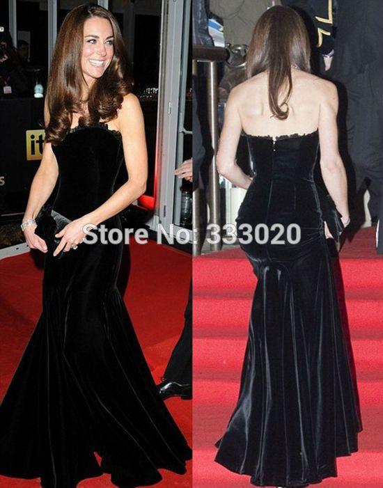 Kate Middleton Dress Black Velvet Mermaid Celebrity Inspired Evening Gown  Formal Red Carpet Prom Dress vestido de festa longo e9e3d1c00082