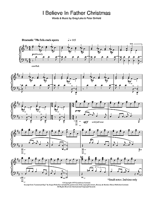 Greg Lake I Believe In Father Christmas Sheet Music Piano Notes
