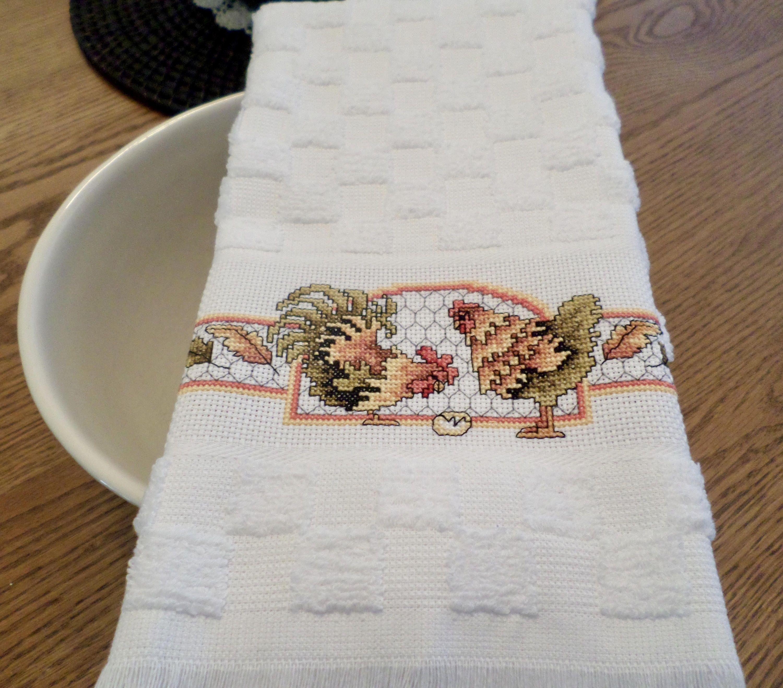 Country Chicken Hand Cross Stitch Kitchen/Tea Towel - Housewarming ...