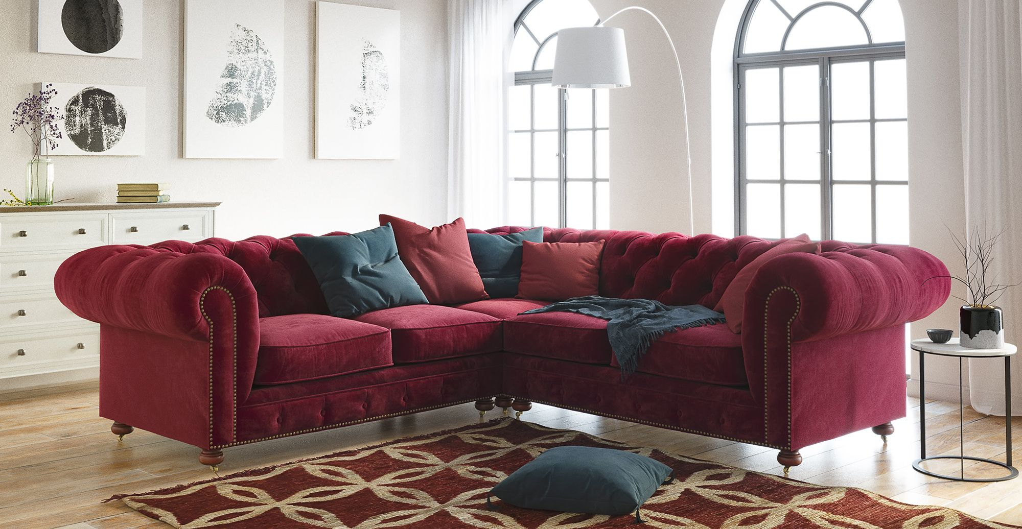 Notting Hill Velvet Chesterfield L Shaped Sectional Corner Sofa Corner Sofa Design Modular Corner Sofa Corner Sofa