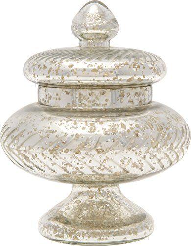 Luna Bazaar Silver Mercury Glass Apothecary Jar Etched Design