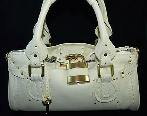 Auth Chloe #Paddington Lock Calf Leather Satchel Shoulder #Bag Handbag Purse Mint