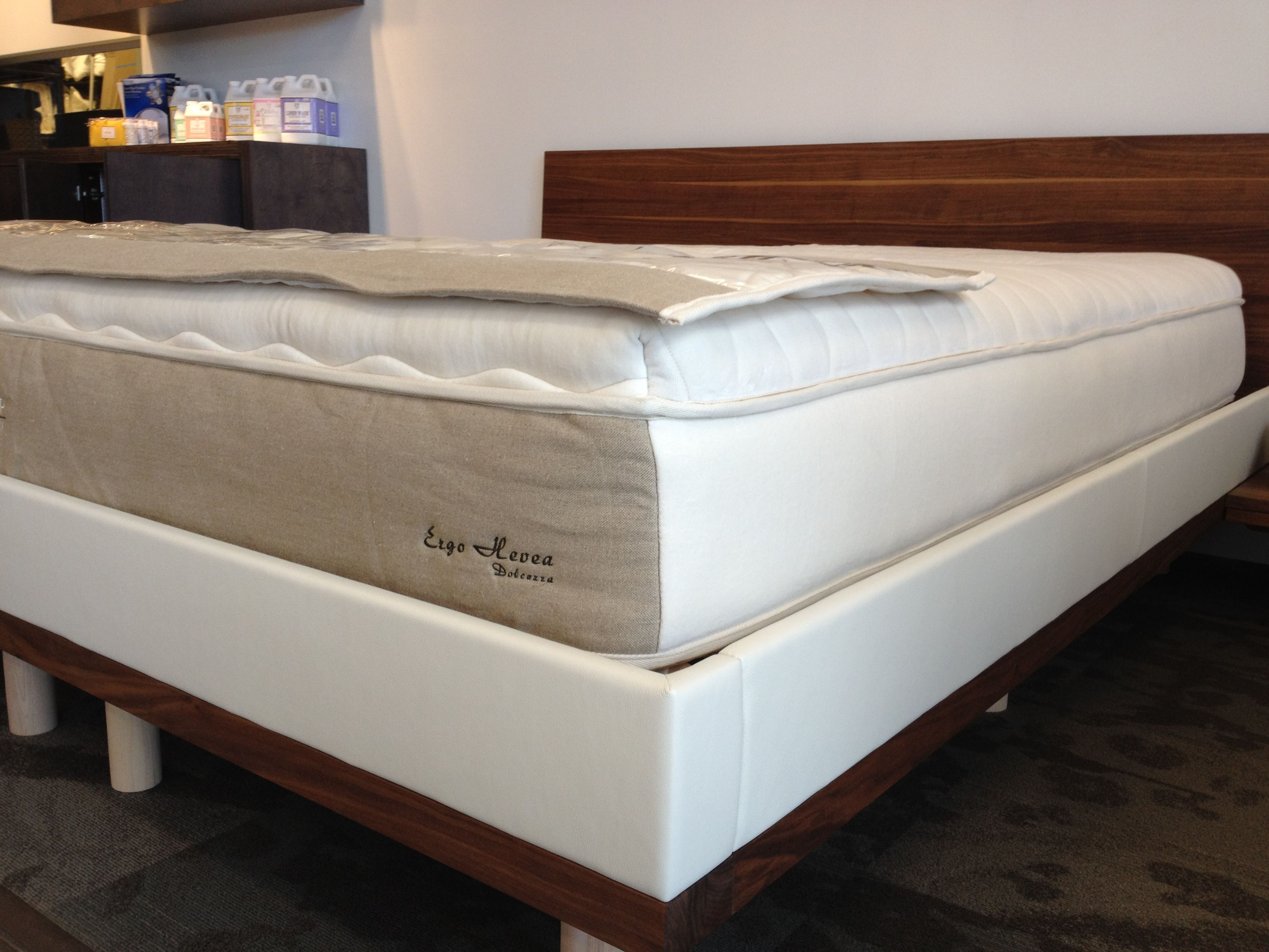 the riletto platform bed wnight stands by team 7 on display at the mattress