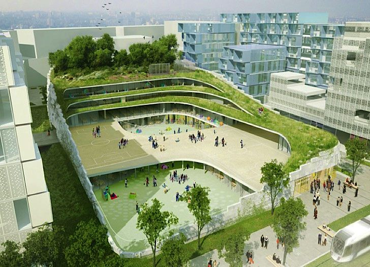 Awesome Former Renault Factory In France Becomes An Undulating Green Roofed School. Great Pictures