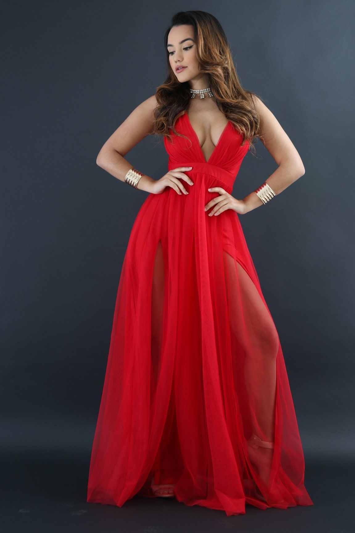 Sexy vneck crisscross open slit maxi dress red products