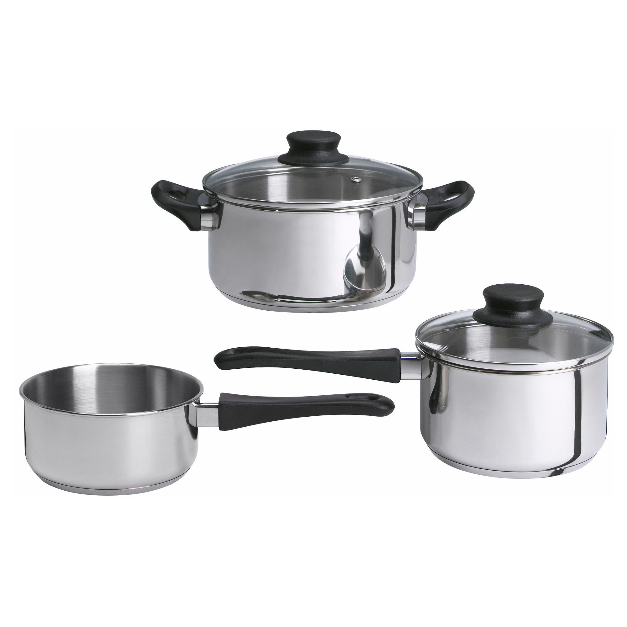 IKEA - ANNONS 5-piece cookware set glass, stainless steel