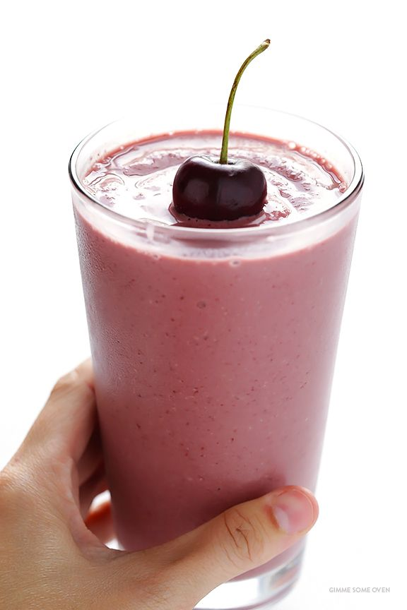 Cherry Pie Smoothie -- full of protein, easy to make, and it tastes like…