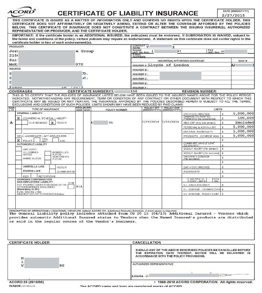 015 Certificate Of Liability Insurance Form California What
