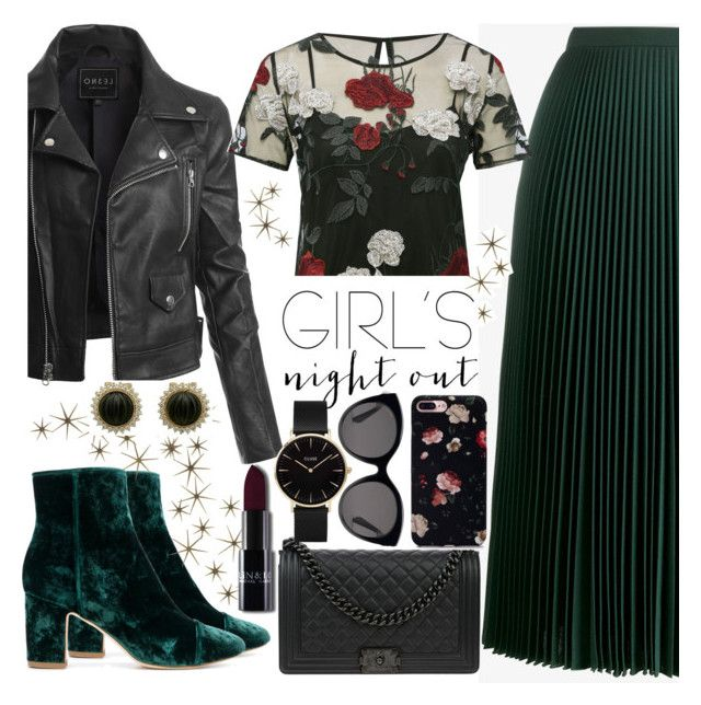 """""""Girls' Night"""" by riley-callen ❤ liked on Polyvore featuring Polly Plume, Prada, LE3NO, Global Views, M&Co, Chanel, Gucci and CLUSE"""