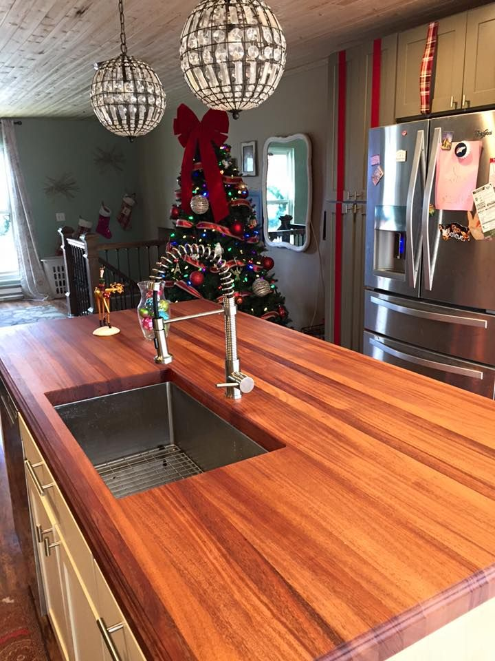 African Mahogany Butcher Block Countertop With Monocoat Finish By