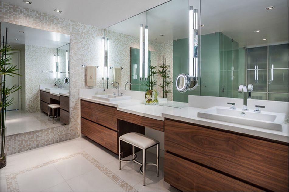 Double Sink Vanity With Seating Area Modern Bathroom Vanity