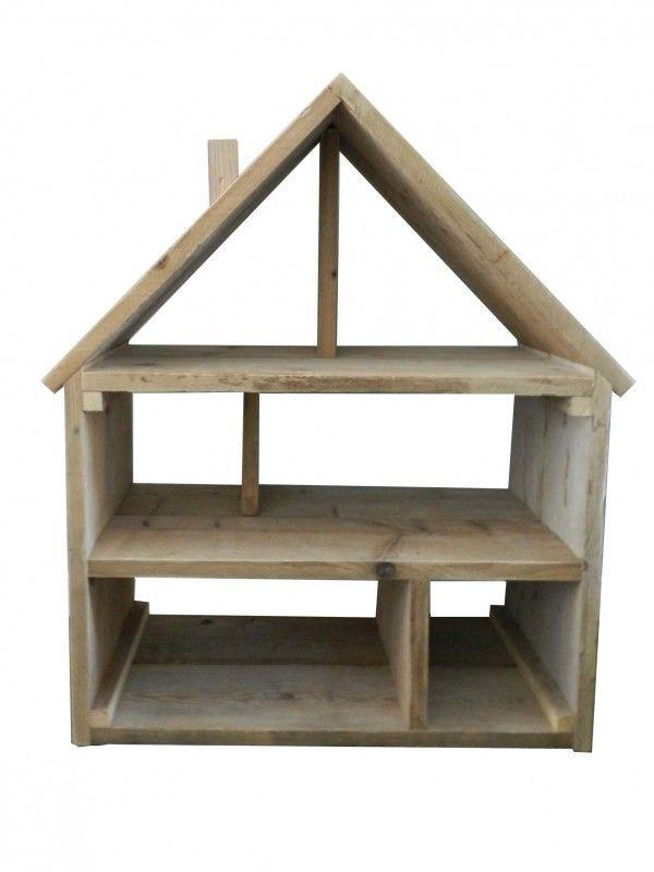 Steigerhout poppenhuis kindermeubels huis grietje for Groot poppenhuis
