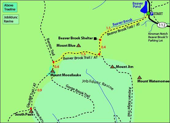 Mount Moosilauke Map Beaver Brook Trail Appalachian Trail - Appalachian trail shelters map