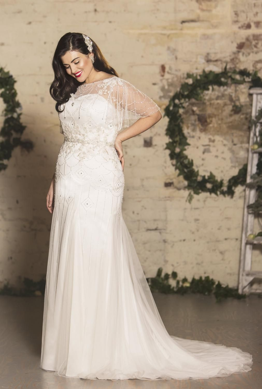 Intricate Deco Inspired Beading And Pretty Fluted Sleeves Certainly Makes This Plus Sized Weddi Cheap Wedding Dress Wedding Dresses Beaded Gatsby Wedding Dress [ 1500 x 1011 Pixel ]