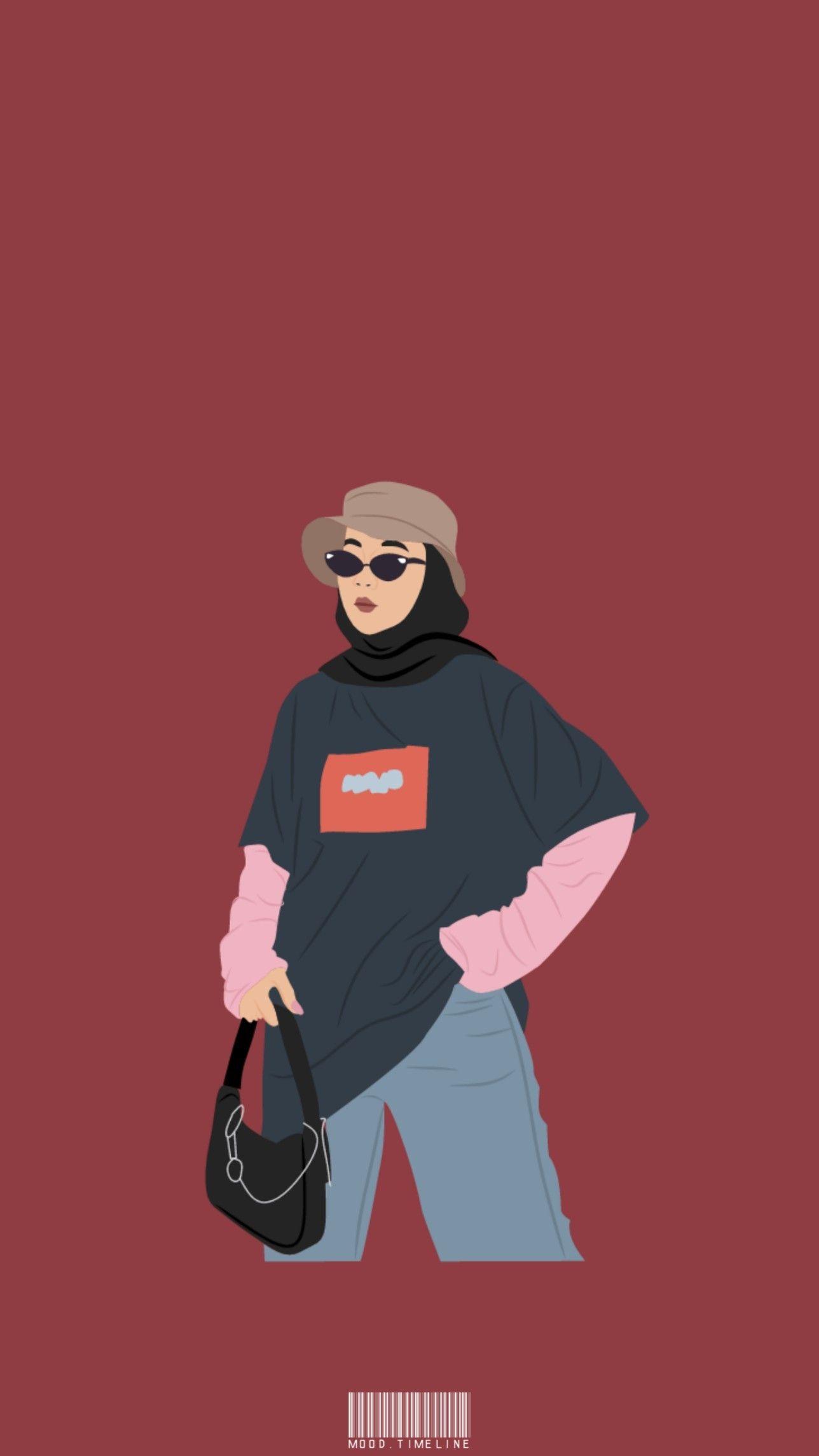 Wallpaper Background Animasi Hijab Ootd Aesthetic Karikatur Ilustrasi Karakter Wallpaper Disney Lucu Kartun