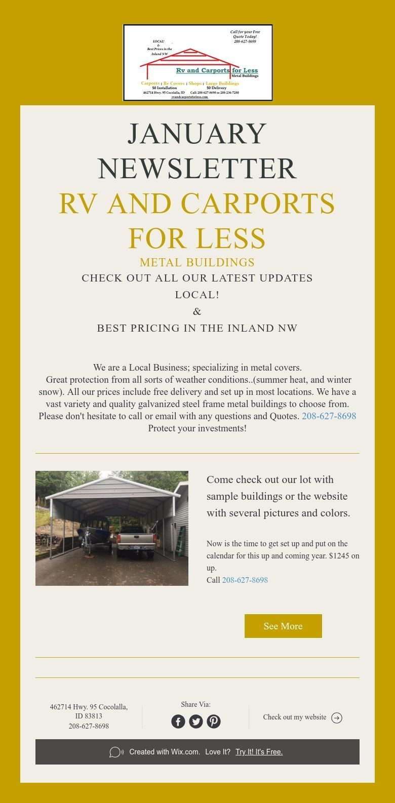 January Newsletter 10 off now Rv and carports for less