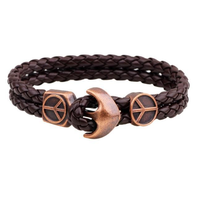 Anchor Clasp Nautical Bracelet Black Coffee Leather Cord Peace Sign