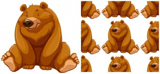 Urso sem costura padrão isolado no branc  Free Vector
