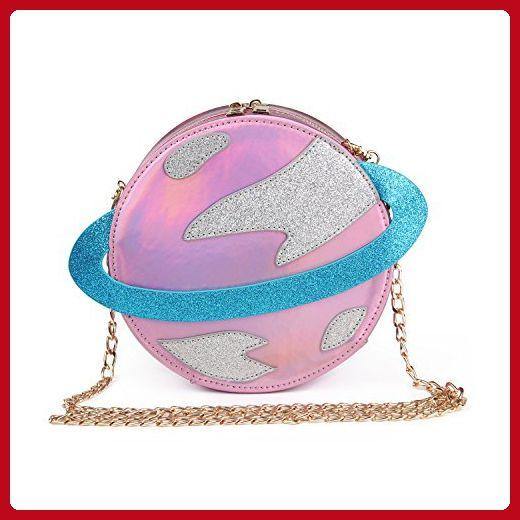 a2ec8f30a6 LUI SUI-Stunning Parent-child Circular planet party bag women Bestie  handbag laser planet orbit bag cute shoulder bag C54 (Parent