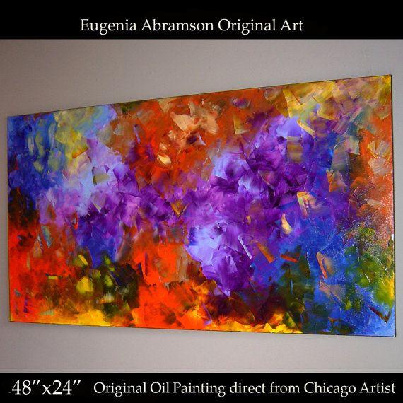 Original Modern Oil Painting on Canvas 48x24 by EugeniaAbramsonArt