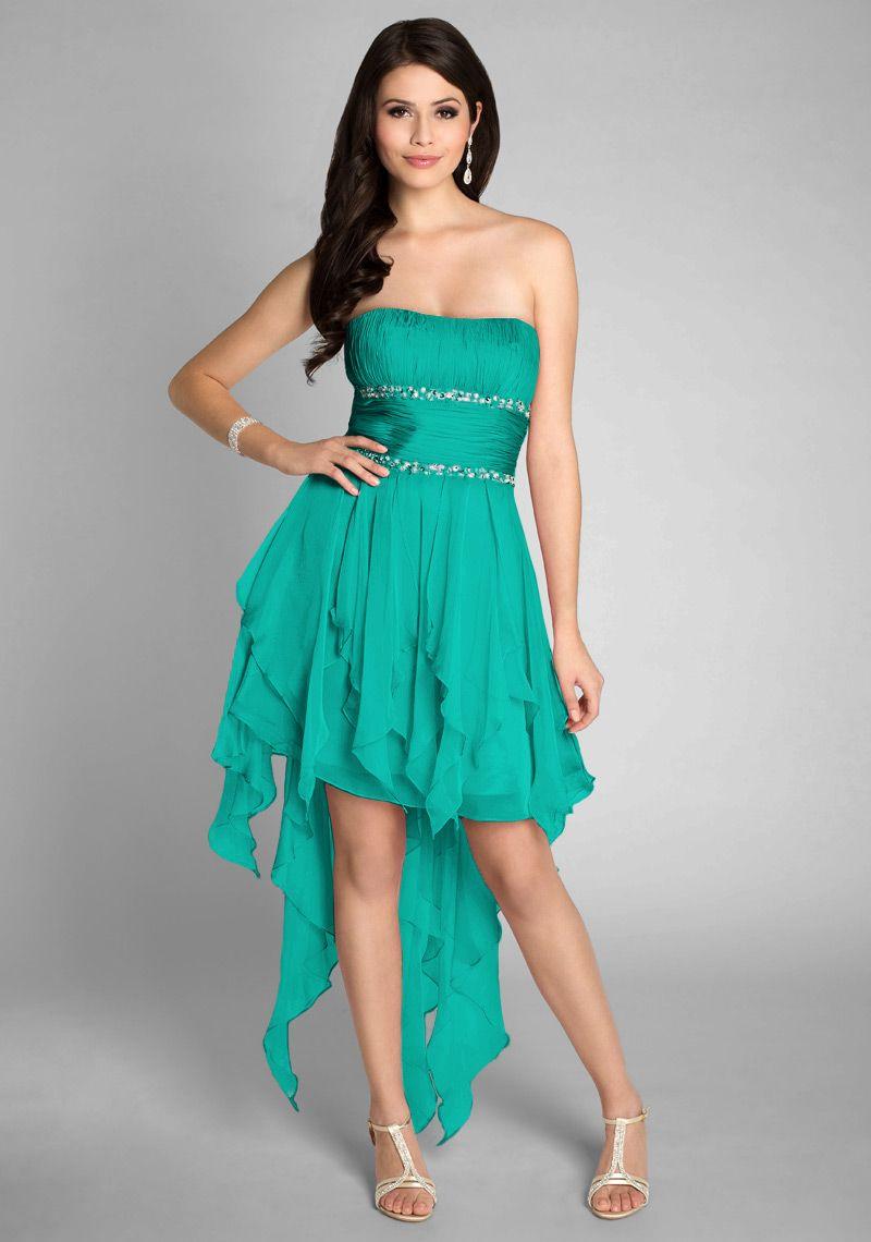 Vokuhila Kleid vorne kurz hinten lang in Grün #Abendkleid #Kleid ...