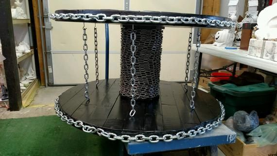 Custom Cable Spool Table with Industrial Chain Look, coffee table, industrial table, end table, wooden table, industrial furniture