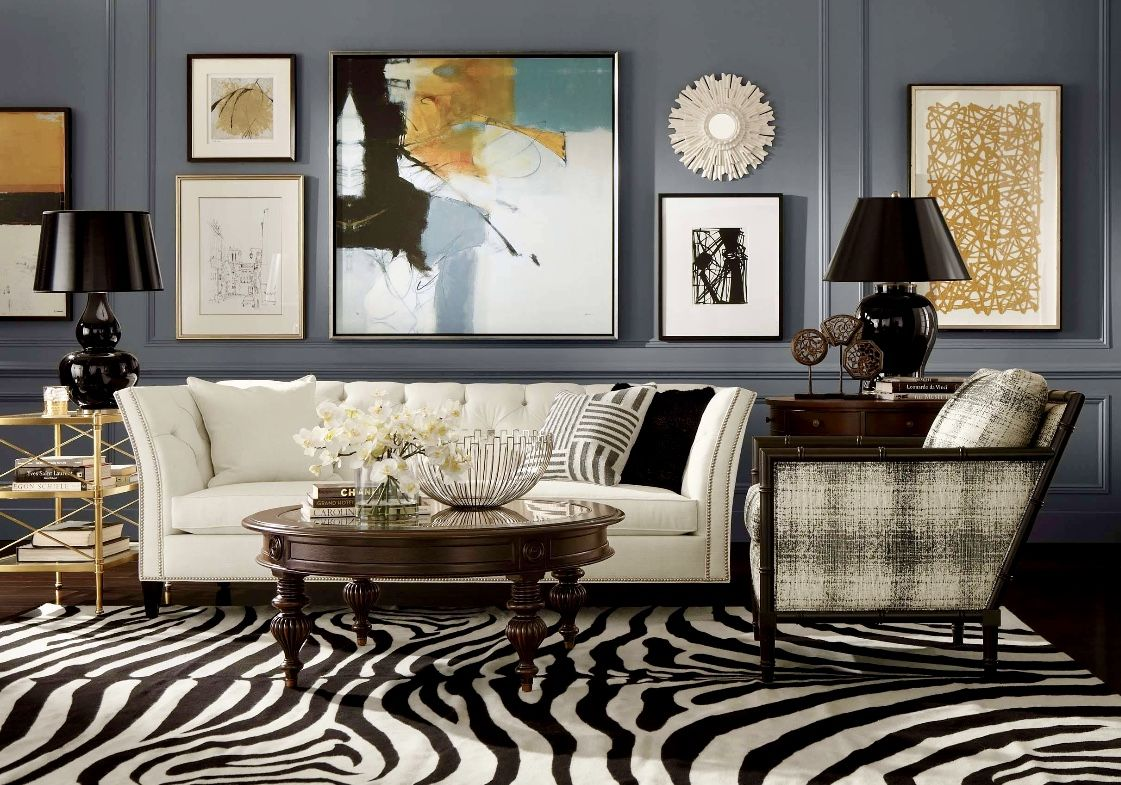 Art Deco Living Room Decor Grey Decor Zebra Rug Tufted Sofa Art