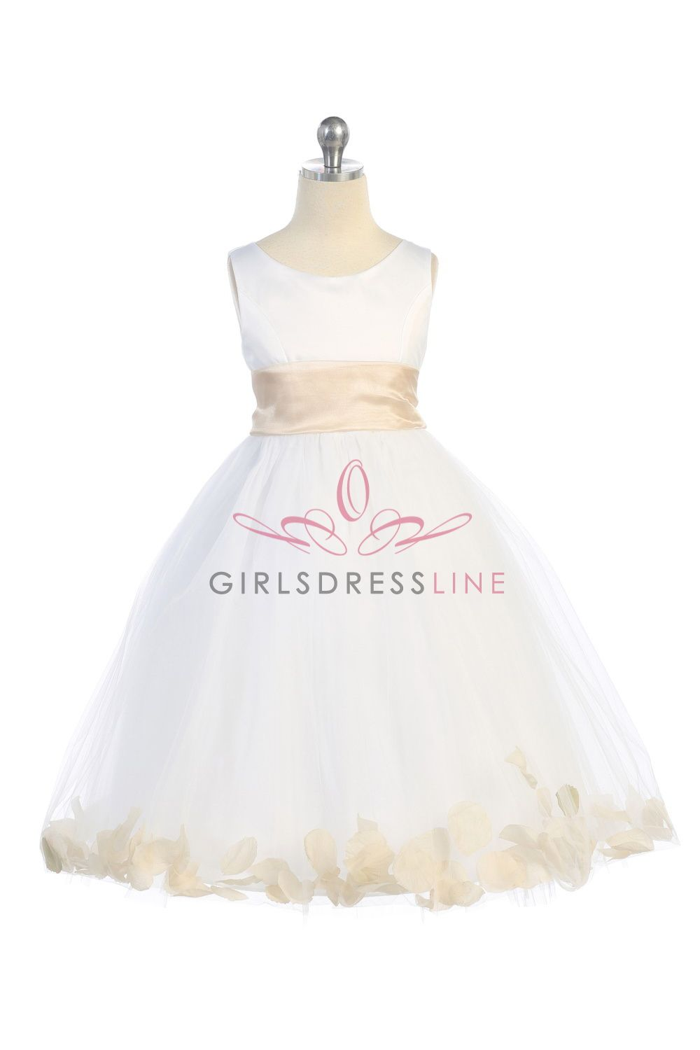 76f6b377556 White Champagne Satin   Tulle Flower Girl Dress with Petals   Sash B1170-CM   40.95 on www.GirlsDressLine.Com