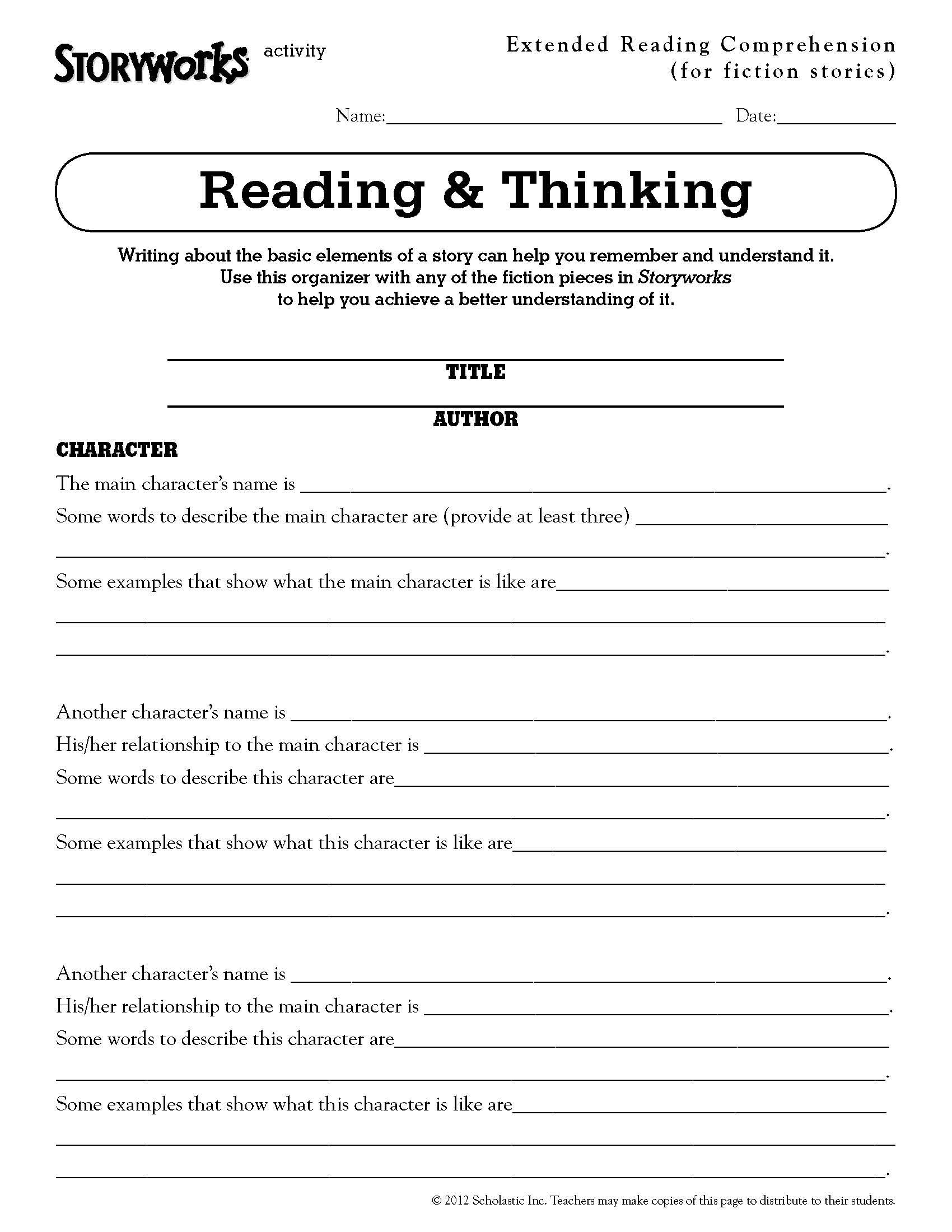 Extended Reading Comprehension Activity For Fiction