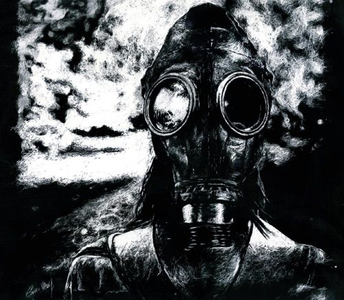 Image via We Heart It https://weheartit.com/entry/174126006 #drawing #gasmask #gasmask #horror #macabre #sweetdreams #tradicionalart