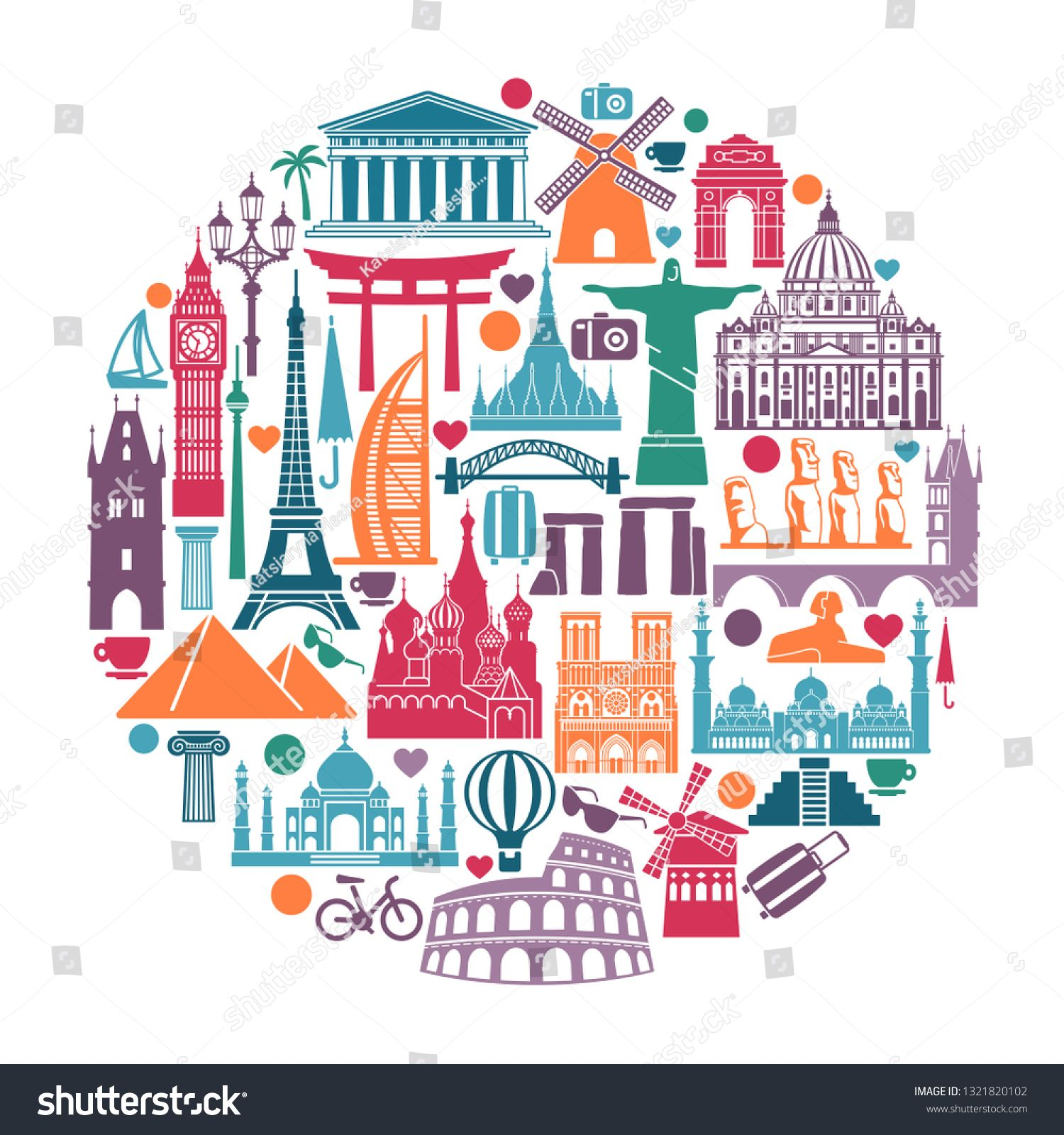 Symbols of architectural monuments and world tourist attractions in the shape of a circle